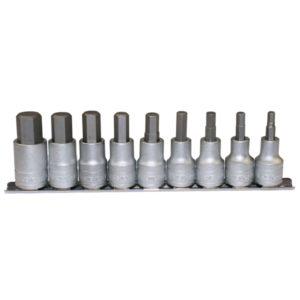 Teng 9pc 1/2in Dr AF Hex Bit Socket Set 3/16-5/8in