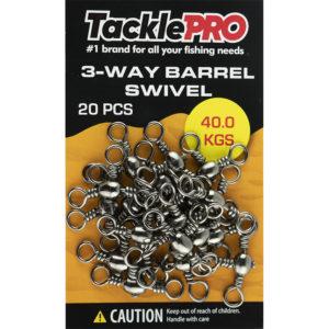 TacklePro 3 Way Barrel Swivel 40.0kg - 20pc